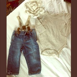 Osh Kosh Gold Glitter Onesie and Suspenders Jeans